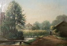Dutch School (19th/20th century) - Langs de vaart
