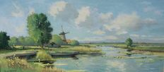 Gerrit van Jeveren (1904-1986) - Hollands polderlandschap met molen