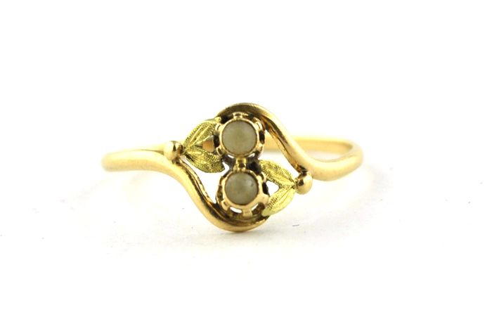 Antieke parel & 18 k Yellow Gold Flower Design Ring - ** geen MINIMUMVERKOOPPRIJS **