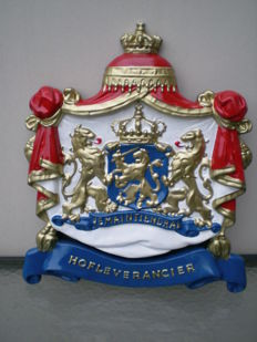 "Coat of Arms, ""je maintiendrai"", purveyor to the Royal Household - cast aluminium"