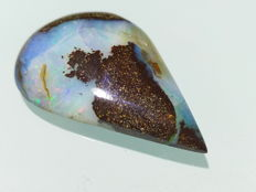 Fine Electric  colors - Untreated 100% Natural Australian Boulder Opal  Cab  - 28x27x7.39 mm - 40.87 Ct