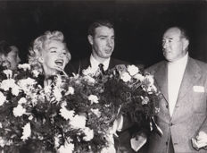 Unknown/Universal photo - Marilyn Monroe and Joe DiMaggio, Japan, 1954 / Marilyn Monroe and Arthur Miller, 'Battle of the River Plate' premier, 1956