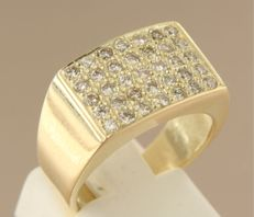 14k yellow-gold men's ring, set with diamonds of 0.70 ct - ring size: 17.5 (55)