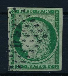 France 1849 - batch with Ceres 10 cent, 15 cent, 40 cent with photo certificate Eichele - Michel 1a, 2b and 5a