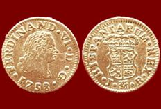 Spain - Fernando VI, 1/2 escudo in gold, Madrid 1758 - 15 mm / 1.69 g