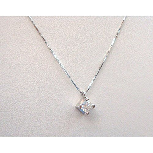 18 kt white gold necklace and pendant with white diamond weighing 0.25 ct - necklace length: 45 cm