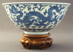Large dragon bowl, marked with characters - China - end 20th century
