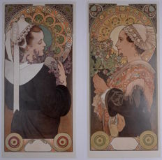 Alphonse Mucha - Heather & Sea Holly. 1902 - A set of 2 Original Lithographs