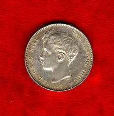 Spain - Alfonso XIII, 1 peseta in silver minted in 1899. Assayer SG-V Excellent piece