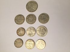 Belgium - 20 to 500 francs 1934/1980 - 10 pieces - mainly silver