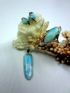 Vintag set larimar with 925 silver