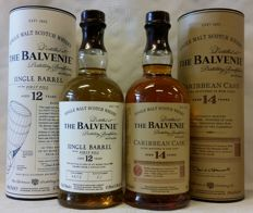 2 bottles - The Balvenie: 12 years old Single Barrel - First Fill (from cask number 4675, bottled in 2015) + 14 years old Caribbean Rum cask