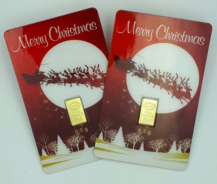 2X0.5, Total 1 g 24 Ct Fine Gold   Sealed Christmas Gift Bars  , **** NO RESERVE PRICE ***