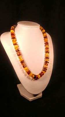 100% Genuine Baltic Amber necklace, length 50 cm, 32 grams