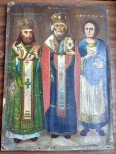 Russian icon (late 19th) - Three saints: The St. Nicholas, The St. Feodosiy and The St. Panteleon (35 x 26 cm)