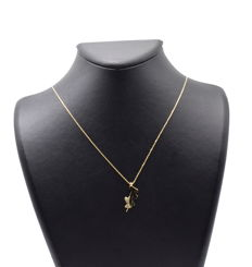 14 carat yellow gold chain with Mom and Child Pendant - 45 cm