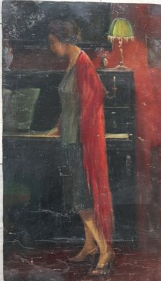 Anonymous (early 20th century) Figura di donna al pianoforte