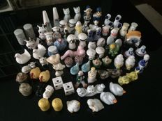 Large collection of pepper and salt shakers on 2 pictures