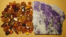 Lot of natural rare Charoite and Baltic Amber- 254 gr.