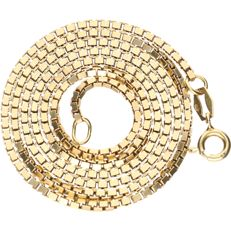 14 kt - Yellow gold Venetian link necklace - length: 50.5 cm