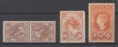 The Netherlands 1920/1924 - tête-bêche with plate flaw and Clearance - NVPH 61b PM + 104/105