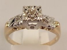 14 kt yellow gold Art Deco ring with Diamond