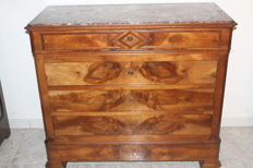 Commode Louis Philippe in walnut and marble - France - 19th century