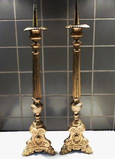 A pair of large, ormolu bronze Baroque baluster candlesticks - the foot decorated with Biblical figures and dolphins - France - ca. 1860