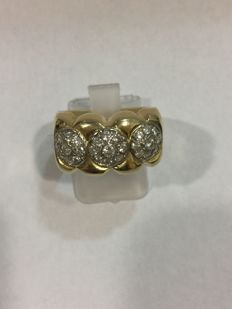 Large cocktail band ring in 18 kt gold with 0.47 ct diamonds - Size 52 (IT)