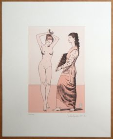 "Manara, Milo - Aquatint etching ""Lo Specchio Incisione - Hommage à Picasso (Tribute to Picasso)"" (2005)"
