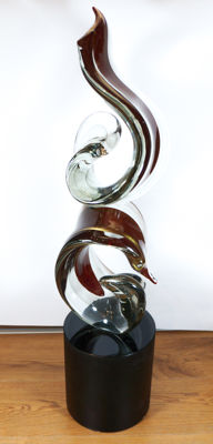 Alberto Donà (Murano) - Double red knot sculpture (95 cm)