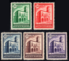San Marino 1932 - Post Office Building complete series - Sassone Nos. 159/163