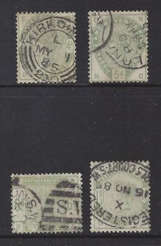Great Britain 1862/1880, Queen Victoria - Stanley Gibbons 192, 193, 194 and 196