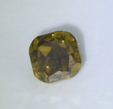 0.52 ct. Square Cushion Modified Brilliant Natural Diamond -  Fancy Yellow Brown- I 1