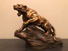 A. Fagotto - ceramic sculpture of a tiger - France - c. 1920-1930
