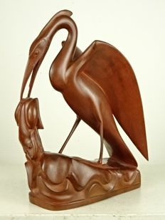 Hardwood carving of a crane and frog - Bali - first half of the 20th century