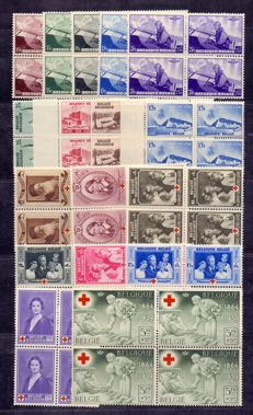 Belgium 1938/1939 - Complete series Liège, Red Cross 1939 and 'Flier' in blocks of 4 - OBP 466/470, 484/487 and 496/503