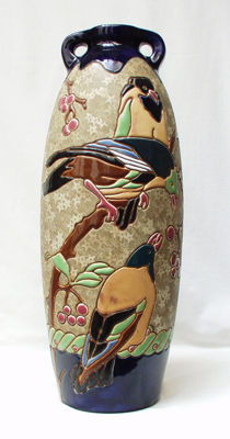 Amphora, Riessner - A stoneware vase with polychrome relief decoration of birds