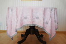 Lace damask tablecloth 4-6 people pink 160x160cm / embroidery hand work