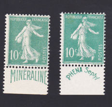 France 1929/1931 - Selection of 2 stamps, Semeuse type 10c green with Mineraline and Phena strips - Yvert no. 188 and 188A