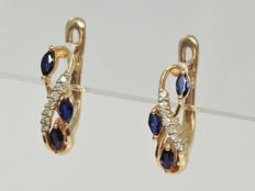 14 kt gold Earrings with diamond and sapphires • No reserve price •