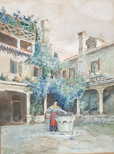 Anonymous (19th century) Donna al pozzo in cortile