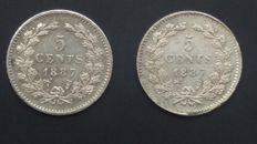 The Netherlands - 5 cent 1887 Willem III - 2 pieces - silver