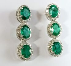 A 9.30ct pair of Emerald and Diamond earrings. ***No Reserve***