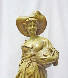 E. Tell for Goldscheider - Terra cotta sculpture of a water carrier