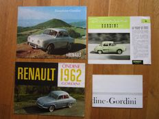 RENAULT Dauphine, Gordini and Ondine lot of 4 brochures around 1960