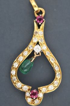 Antique pendant, 750 yellow gold, diamonds, 0.70 ct, antique cut with 2 rubies and 1 emerald