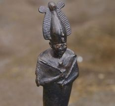 Rare, detailed bronze sculpture of Osiris (with gold inlaid eyes/eyebrows) - H. 14 cm
