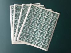 Yugoslavia - Airmail stamp 6 Din + 10 Din in four full sheets of 50 - Michel 654