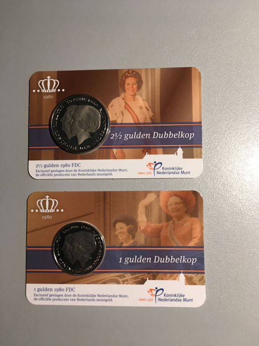 "The Netherlands - 1 and 2½ guilder coins 1980 ""Dubbelkop"" (Double head) in coin cards"